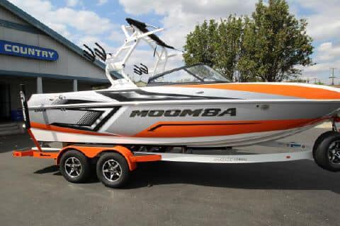 A Moomba in tow to our covered boat storage in Clay County.